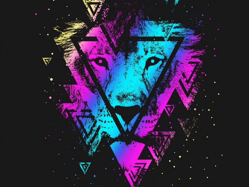 free PNG lion, colorful, triangle, art, muzzle background PNG images transparent