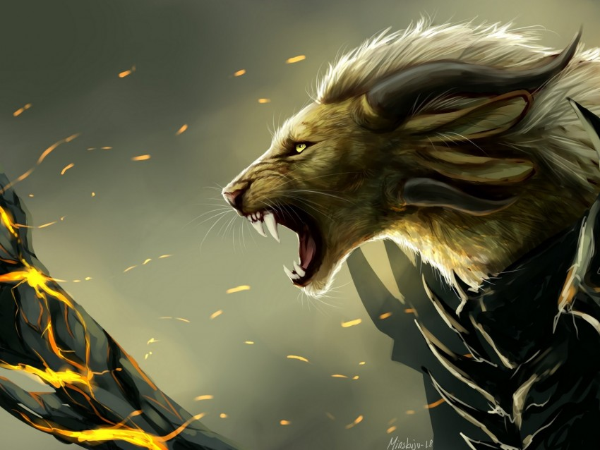 free PNG lion, grin, art, predator, fabulous, creature, mythical background PNG images transparent