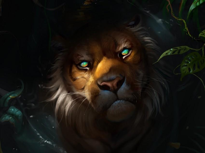 free PNG lion, muzzle, art, predator, sight background PNG images transparent