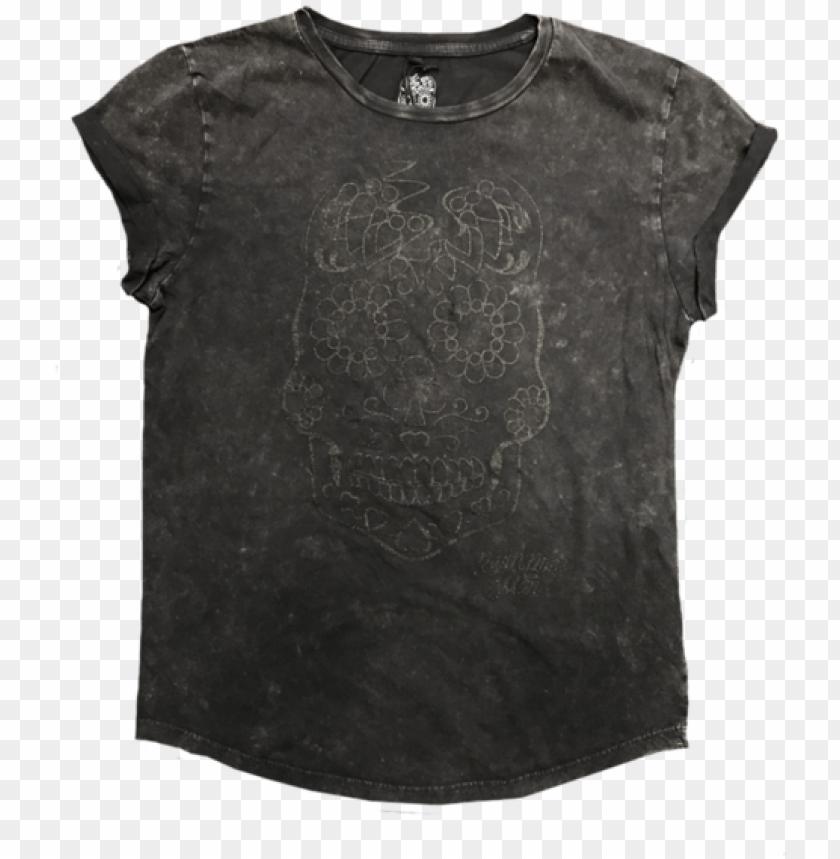 free PNG litter skull girls acid black t-shirt - black acid wash shirt wome PNG image with transparent background PNG images transparent