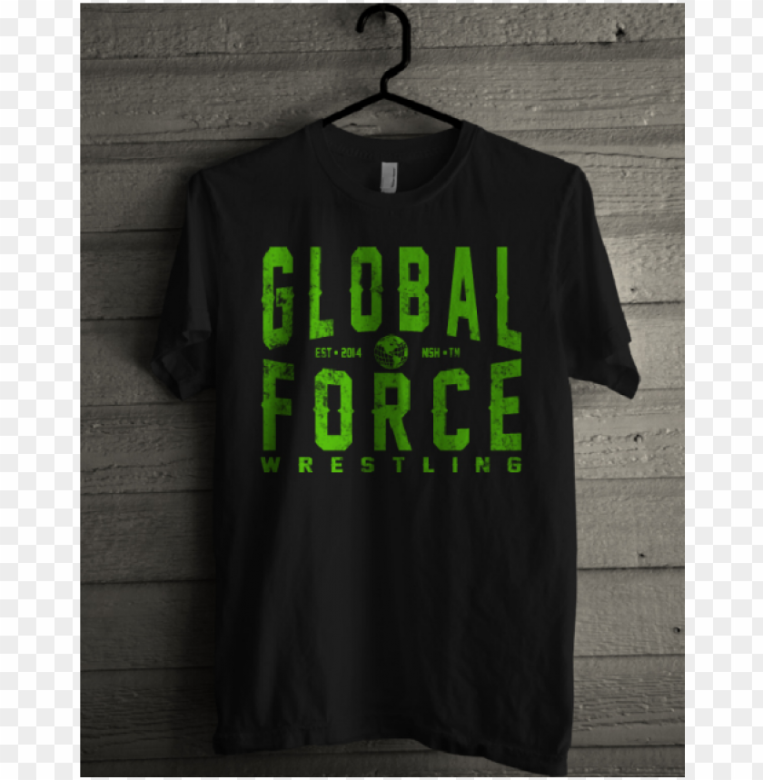 free PNG lobal force wrestling black tee- green logo - gildanguns n roses tour 2017 wellington zealand not PNG image with transparent background PNG images transparent
