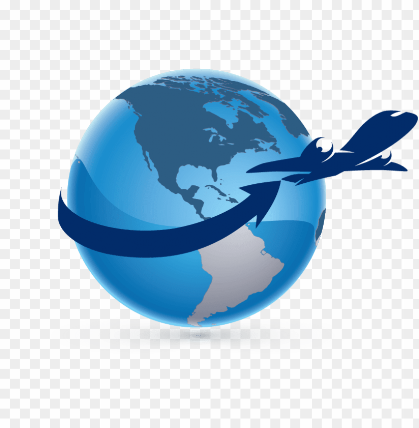 globe with airplane logo png