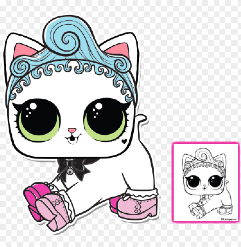 Lol Surprise Pet Coloring Pages Royal Kitty Cat Page Lol Royal Kitty Cat Png Image With Transparent Background Toppng