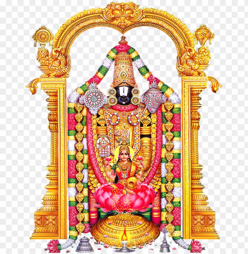 free PNG lord venkateswara with consorts lakshmi and padmavati - indian hindi religious goddess maa laxmi showeri PNG image with transparent background PNG images transparent