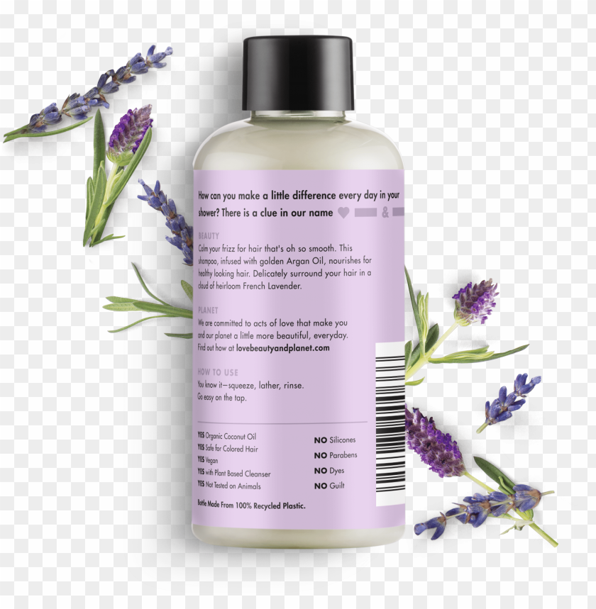free PNG love beauty and planet argan oil & lavender shampoo - love beauty and planet ingredients PNG image with transparent background PNG images transparent