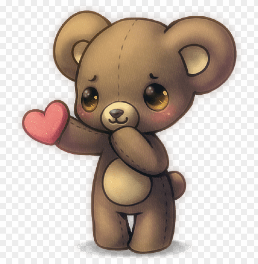 free PNG love cute anime animals bear heart kawaii - cute teddy bear anime PNG image with transparent background PNG images transparent