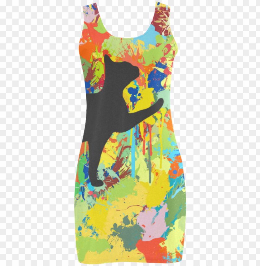 free PNG lovely cat colorful splash complet vest dress - lovely cat colorful splash complet photo rings, adult PNG image with transparent background PNG images transparent