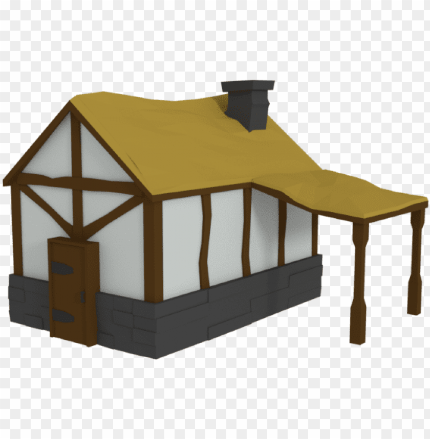 free PNG low poly medieval farm house assets - low poly house medieval PNG image with transparent background PNG images transparent