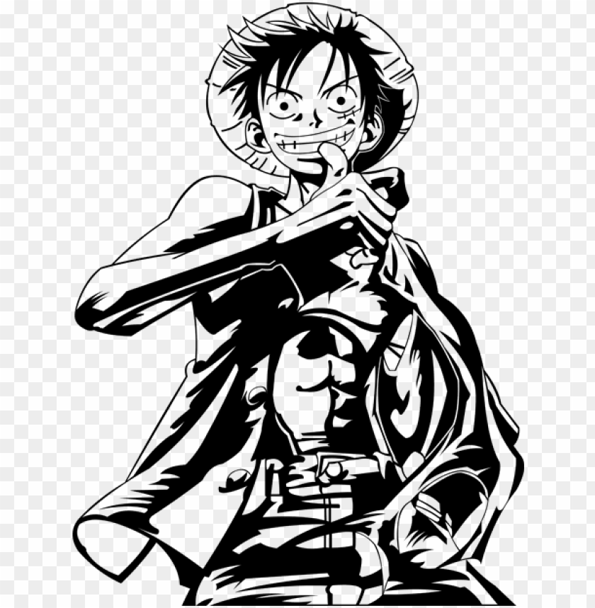 Luffy Black And White Vector By Varhmiel On Deviantart Vector Art Black And White Png Image With Transparent Background Toppng
