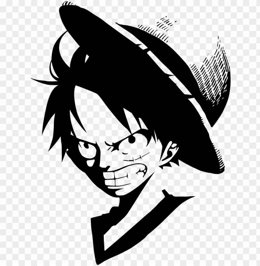 free PNG luffy clipart - luffy one piece black and white PNG image with transparent background PNG images transparent