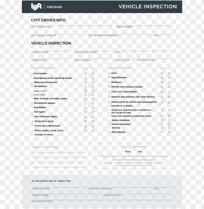free PNG lyft chicago inspection form org - lyft inspection form florida PNG image with transparent background PNG images transparent