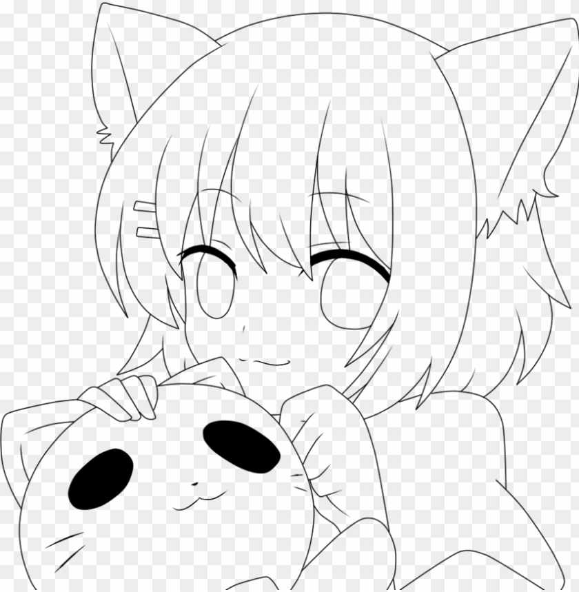 free PNG maid drawing neko - anime drawings no color PNG image with transparent background PNG images transparent