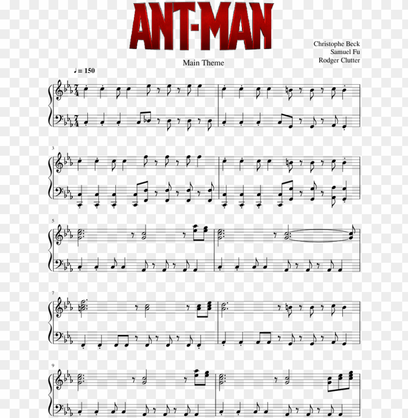 free PNG main theme - ant-man - christophe beck - piano solo - ant man theme piano sheet music PNG image with transparent background PNG images transparent