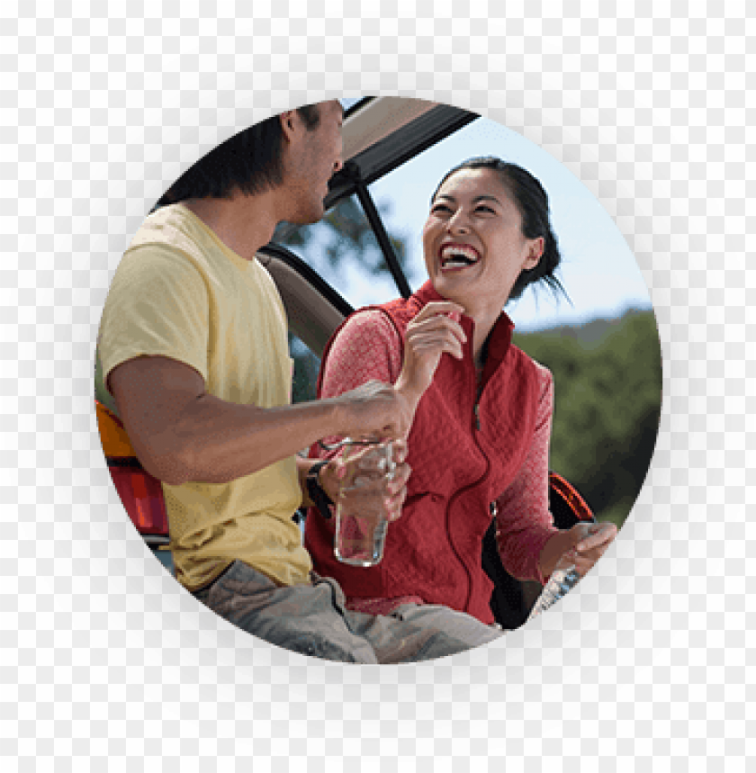 free PNG man and woman laughing and leaning against their suv - quest diagnostics publicidad PNG image with transparent background PNG images transparent