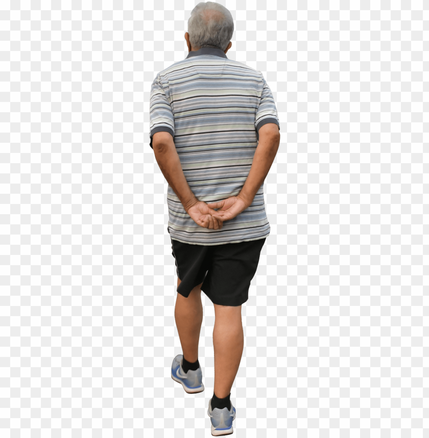 free PNG man walking, old man cutout, back - old people back PNG image with transparent background PNG images transparent
