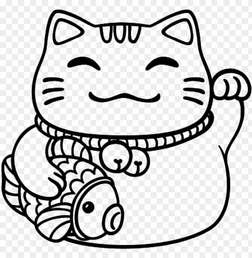 Maneki Neko Clipart Japon Dibujos Para Colorear Png Image With