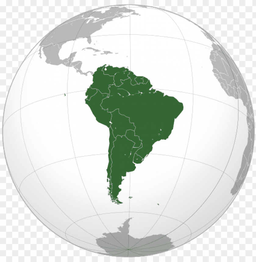 free PNG map of south america - south america continent on globe PNG image with transparent background PNG images transparent