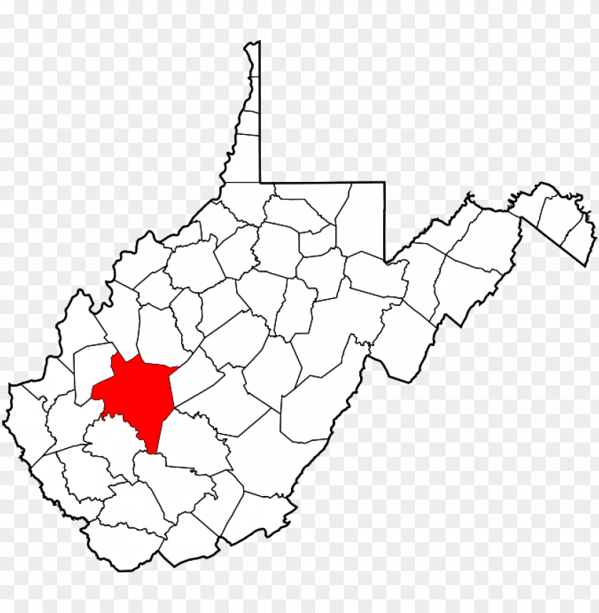 free PNG map of west virginia highlighting kanawha county - county wv PNG image with transparent background PNG images transparent