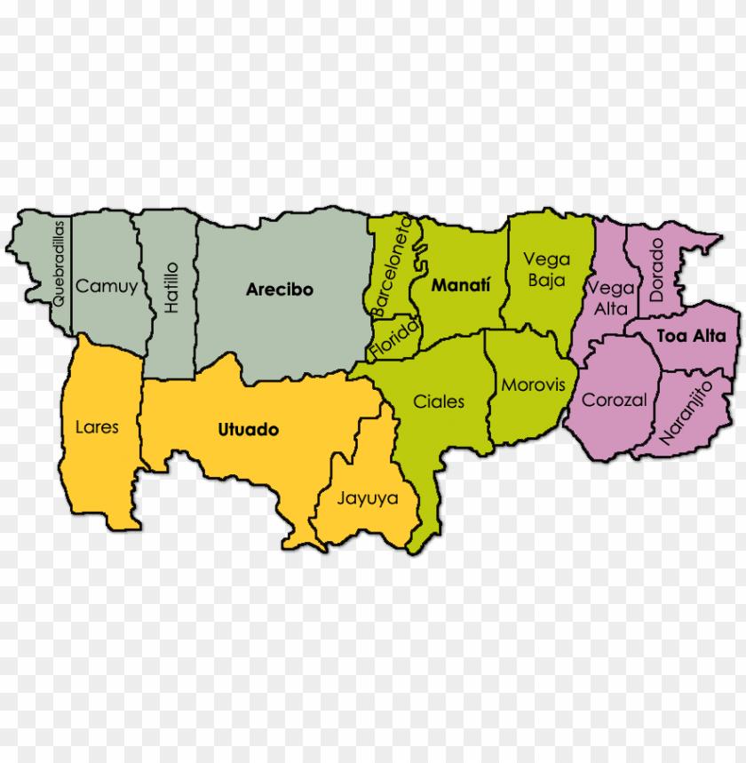 free PNG mapa de los municipios que componen la región norte - norte de puerto rico PNG image with transparent background PNG images transparent