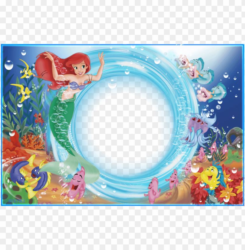 free PNG marco foto sirenita con recuadro circular - marco para fotos sirenita PNG image with transparent background PNG images transparent