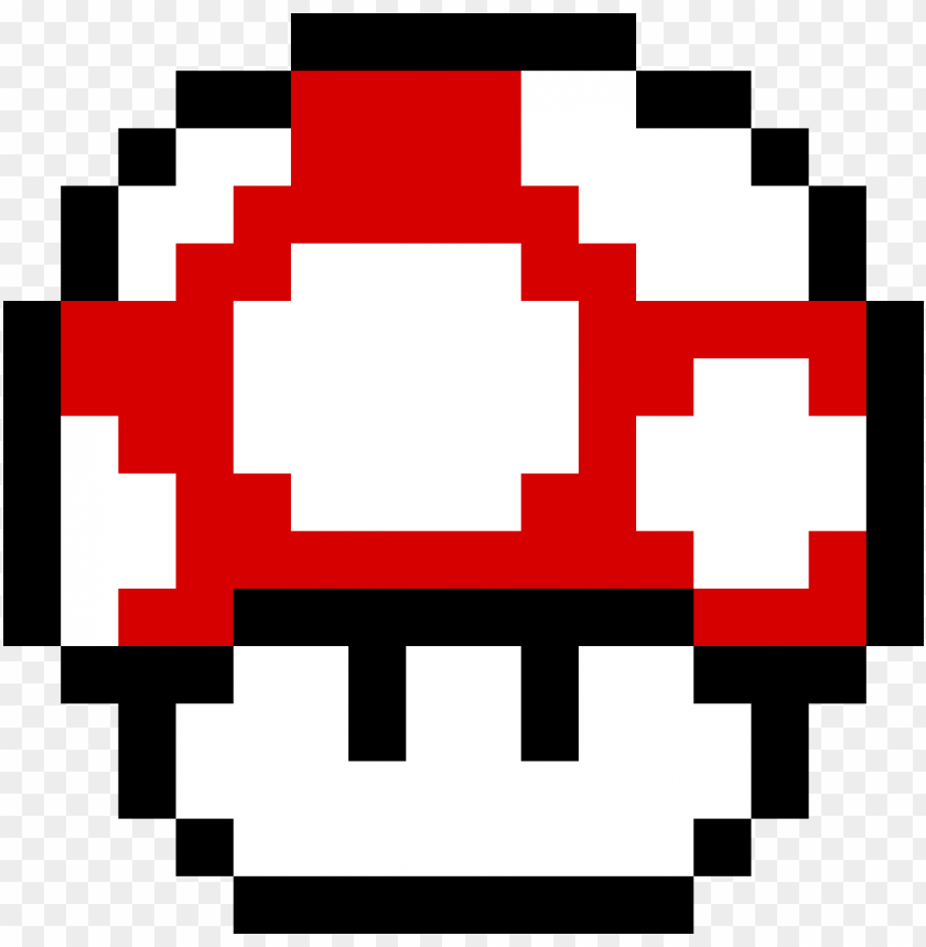 Mario Red Mushroom Toad Mario Pixel Art Png Image With