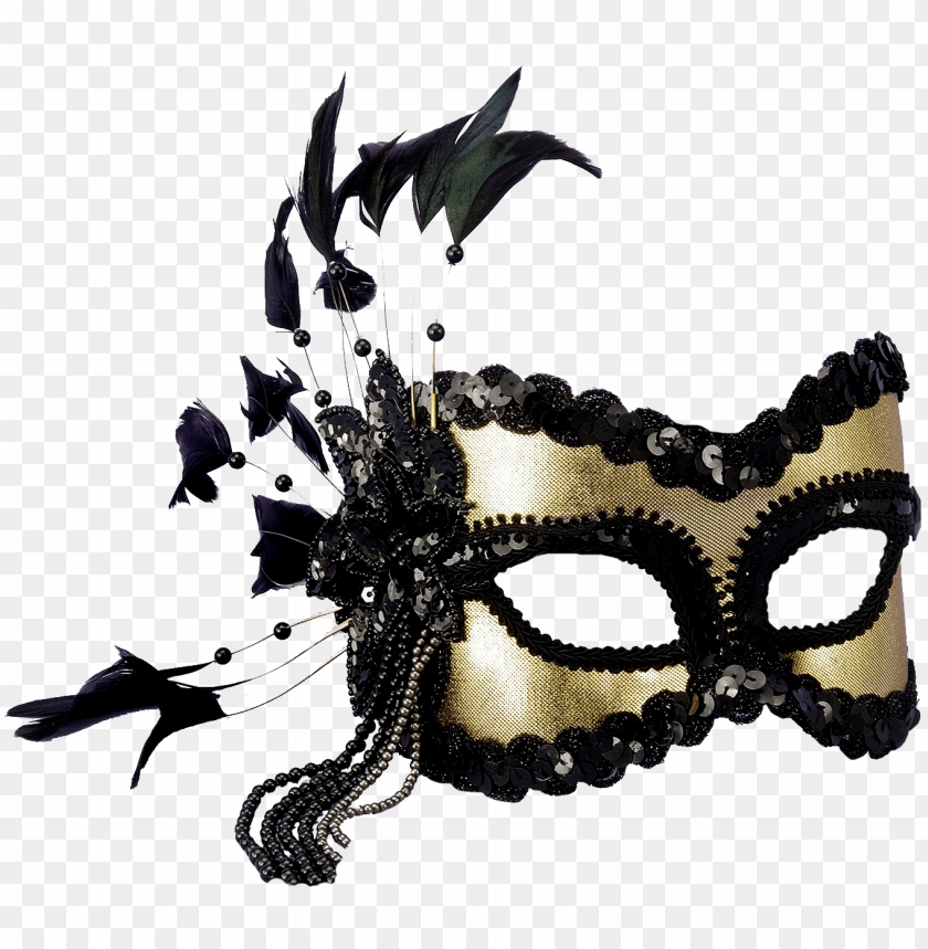 free PNG Маска, Маска, Маска - black and gold sequin and feather mardi gras mask PNG image with transparent background PNG images transparent
