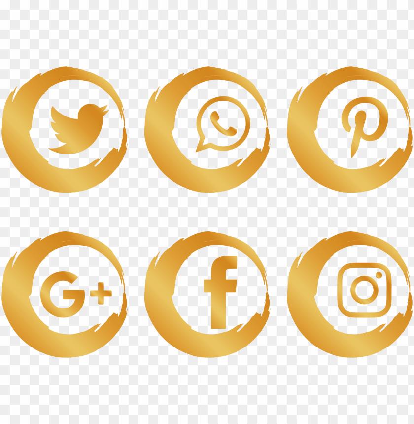 free PNG media icon gold brush social network icons clipart - gold social media icons PNG image with transparent background PNG images transparent