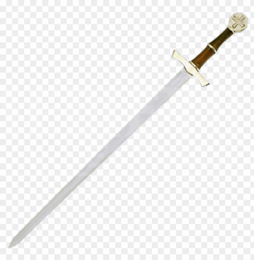 free PNG medieval crossed swords png brass hilt crusader sword - bastard sword PNG image with transparent background PNG images transparent