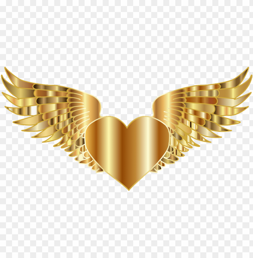 free PNG medium image - gold heart with wings PNG image with transparent background PNG images transparent