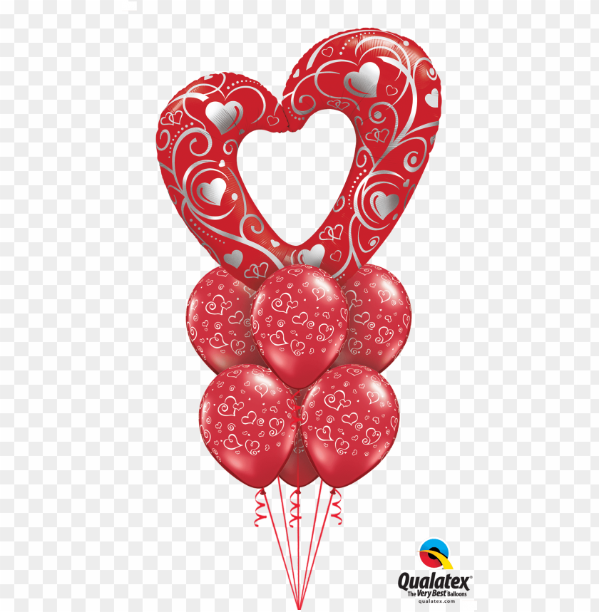 free PNG mega heart balloon bouquet - valentine's day balloon bouquet latex PNG image with transparent background PNG images transparent