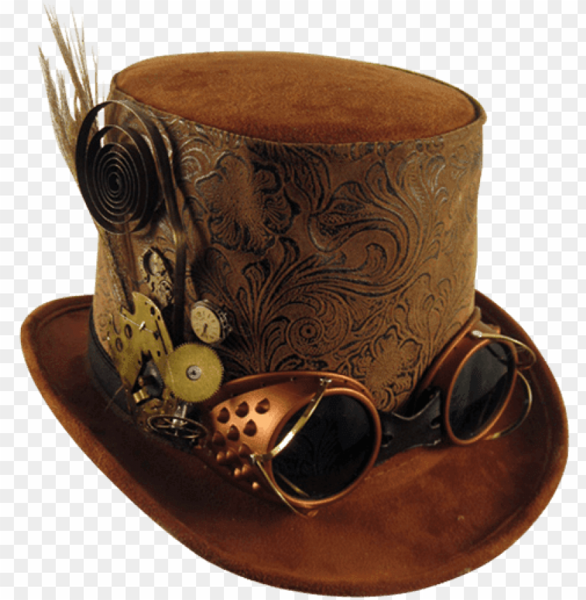 Mens Brown Top Hat With Goggles Mci Steampunk Hat Png Image With