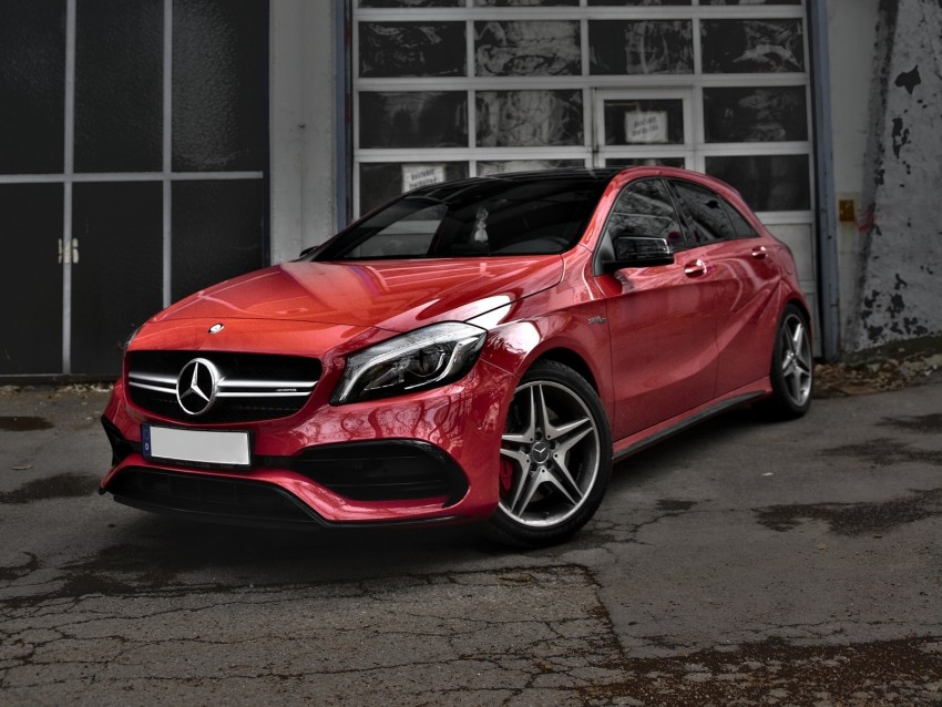 free PNG mercedes-benz cls-class, mercedes, car, red, side view, urban background PNG images transparent