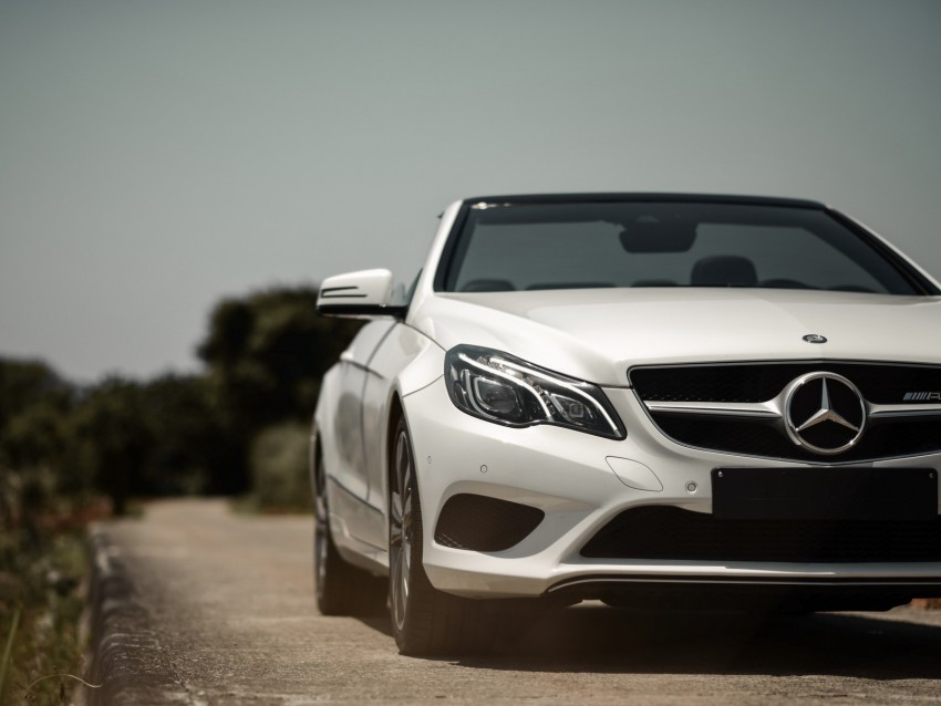free PNG mercedes-benz e200, mercedes, car, convertible, white, front view background PNG images transparent