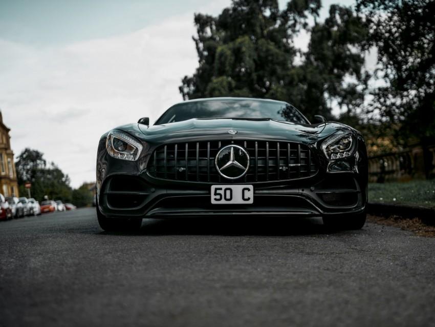 free PNG mercedes-benz, mercedes, car, black, sportscar, front view background PNG images transparent