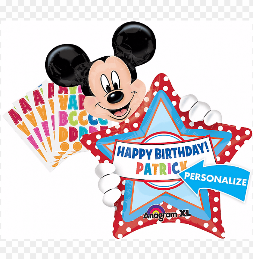 free PNG mickey mouse personalized happy birthday balloon - happy birthday mickey mouse PNG image with transparent background PNG images transparent