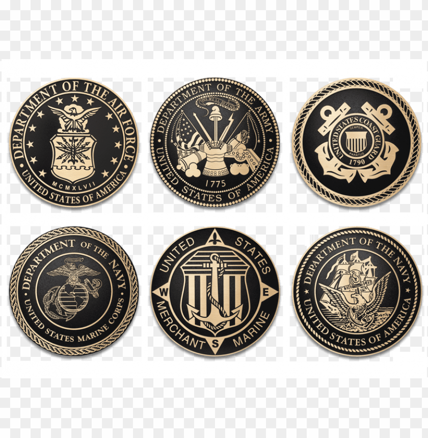 free PNG military bronze seals - us military branches seals PNG image with transparent background PNG images transparent