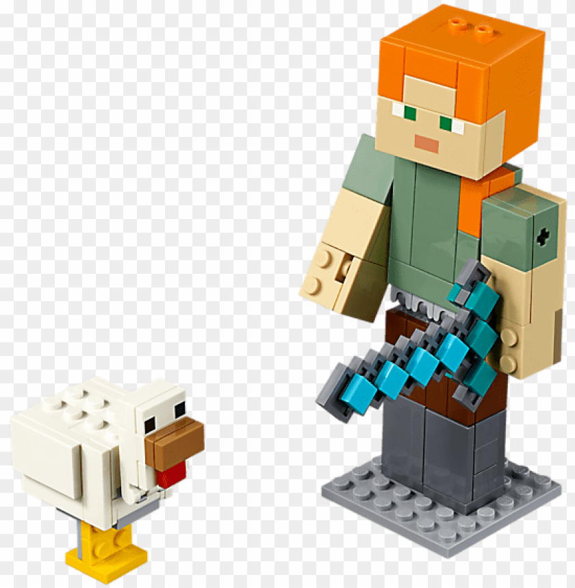 free PNG minecraft™ alex bigfig with chicken - lego minecraft 2019 PNG image with transparent background PNG images transparent
