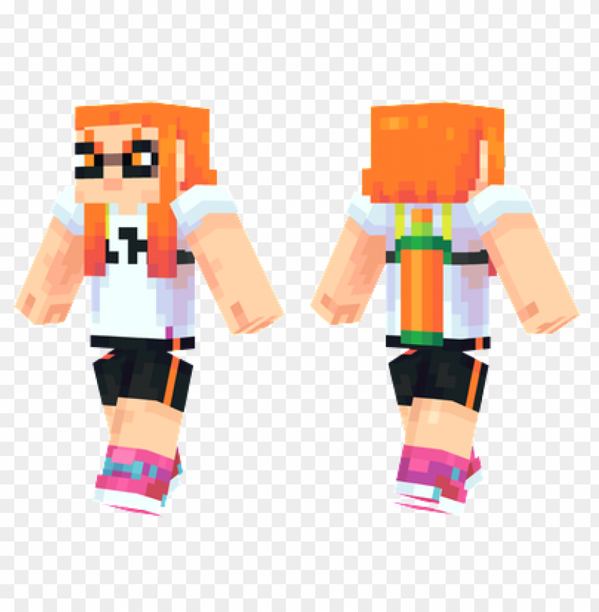 Minecraft Skins Orange Inkling Girl Skin Png Image With