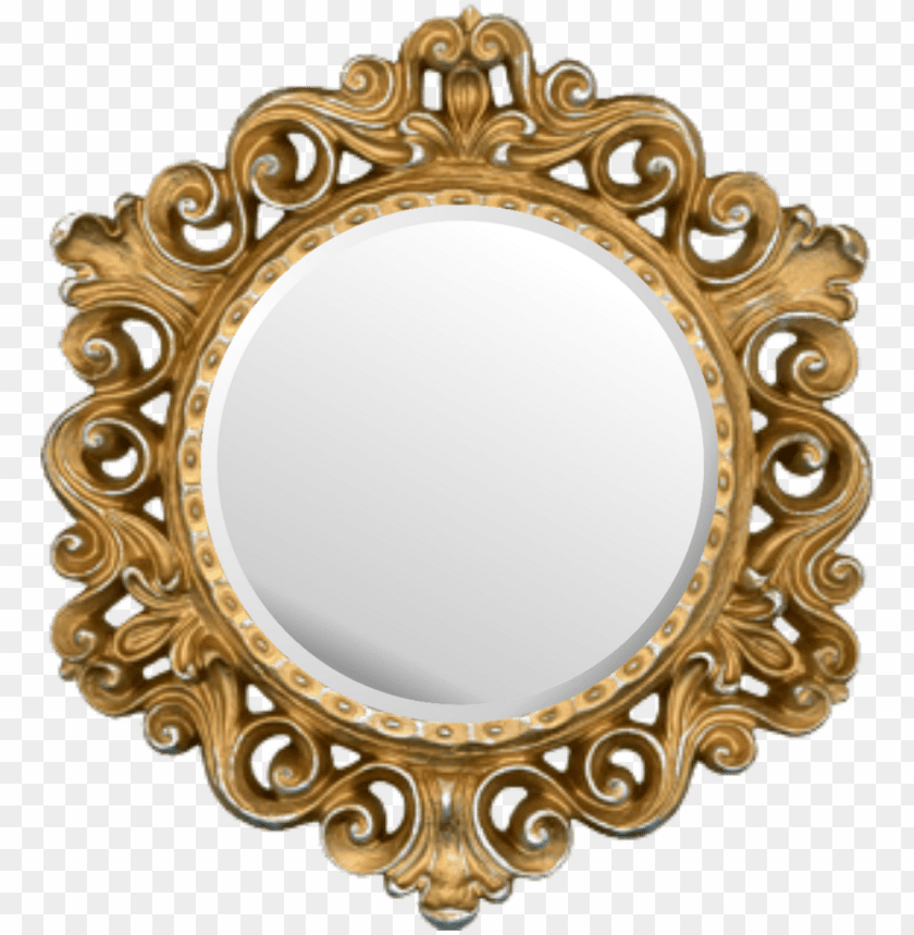 Mirror Sticker Gold Round Picture Frame Png Image With Transparent Background Toppng