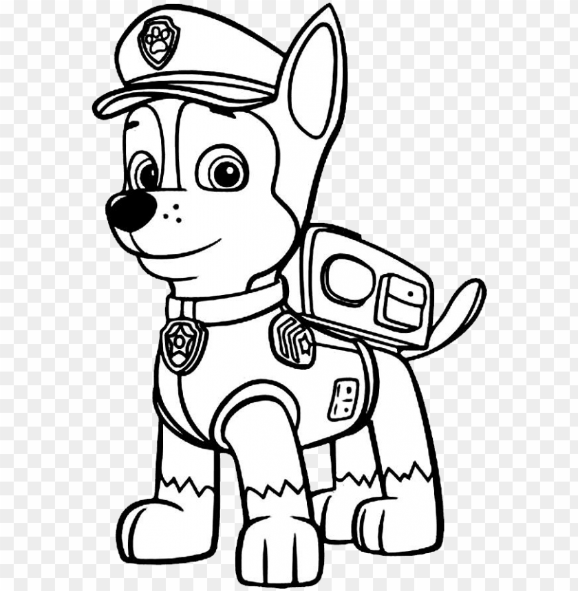 free PNG moderno perro policial para colorear viñeta - perro paw patrol para colorear PNG image with transparent background PNG images transparent