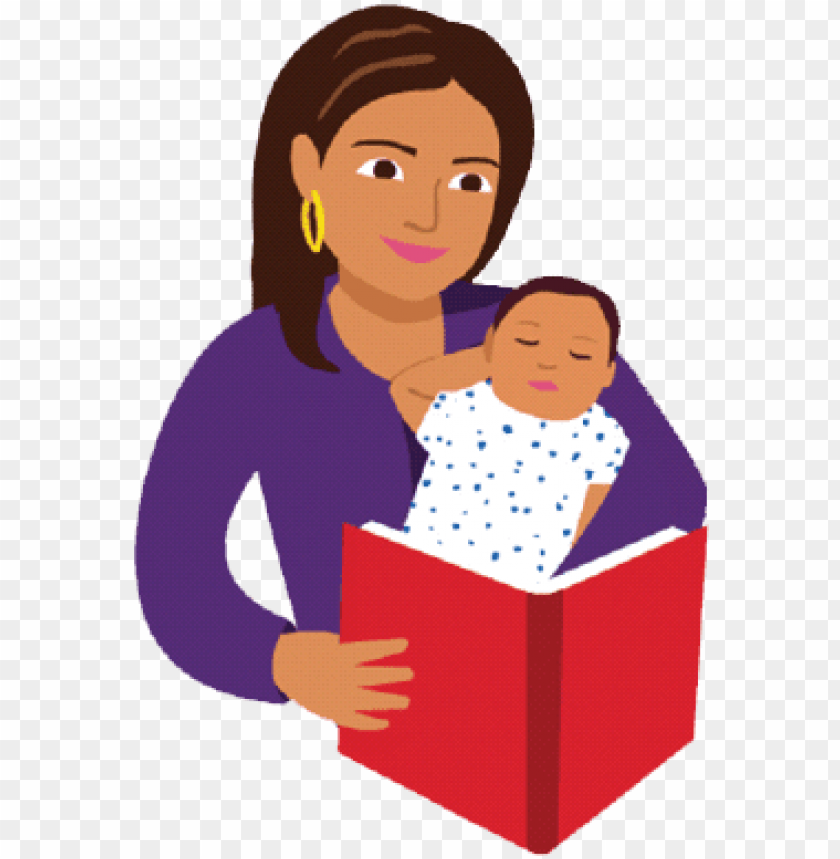 free PNG mom and baby reading book cartoon PNG image with transparent background PNG images transparent