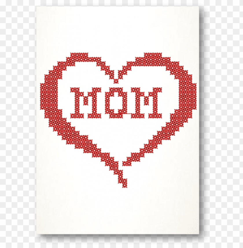 free PNG mom in heart cross stitch embroidered card - cross stitch cards mothers day PNG image with transparent background PNG images transparent