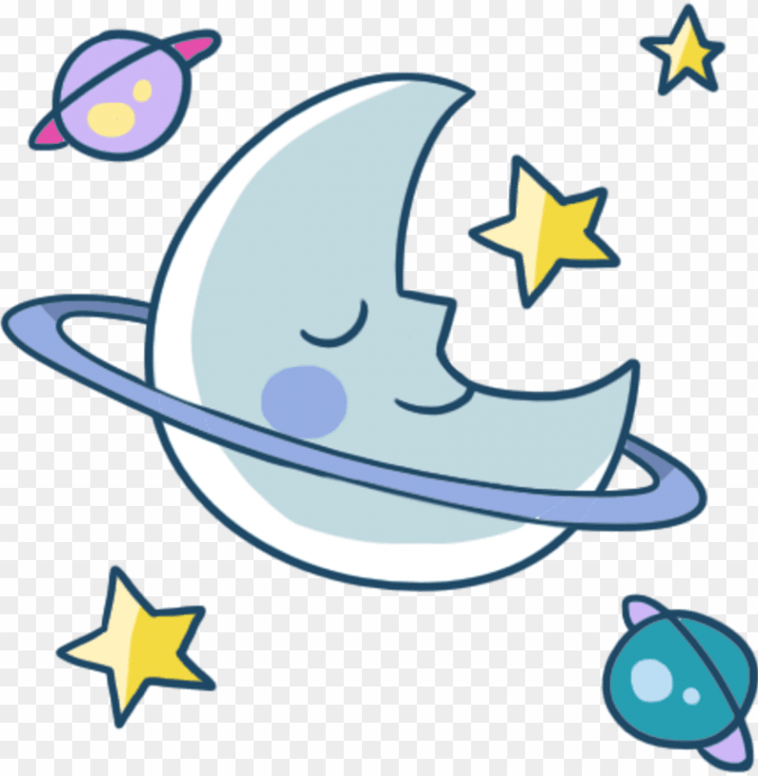 free PNG moon cute star night sleep meteor planet colorful galax - slee PNG image with transparent background PNG images transparent