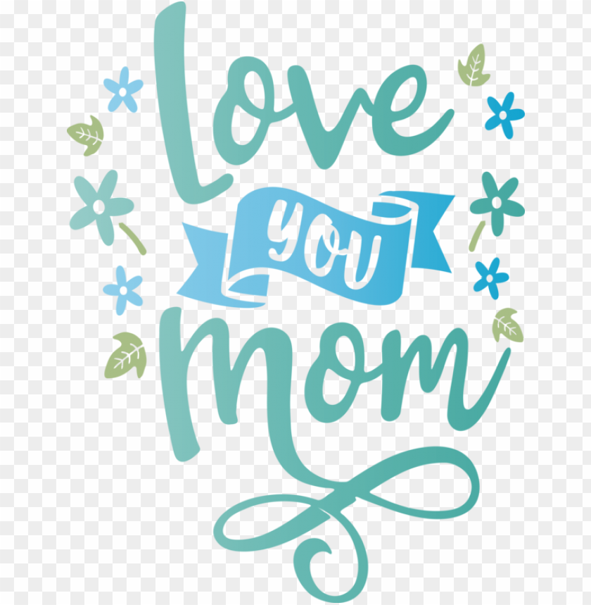 free PNG Mother's Day Logo Green Pattern for Love You Mom for Mothers Day PNG image with transparent background PNG images transparent