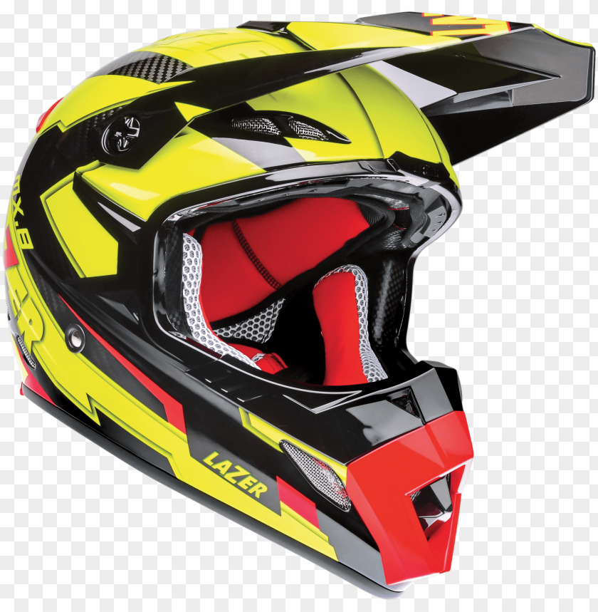free PNG Download motorcycle helmet lazer mx8 geotech pc black carbon yellow fluo red png images background PNG images transparent