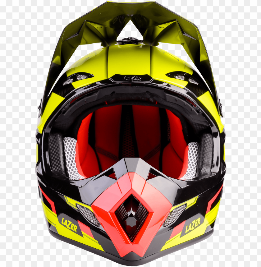 free PNG Download motorcycle helmet lazer mx8 geotech pure carbon yellow black red front png images background PNG images transparent