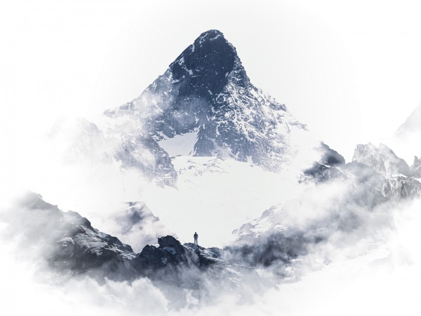 free PNG mountain, peak, silhouette, snow, clouds, white background PNG images transparent