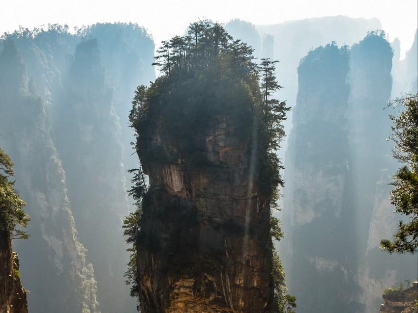 free PNG mountain, rock, fog, avatar mountain, zhangjiajie, china background PNG images transparent
