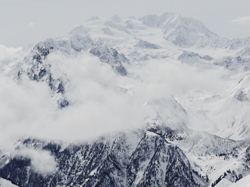 free PNG mountain, snow, peak, fog, clouds, white background PNG images transparent