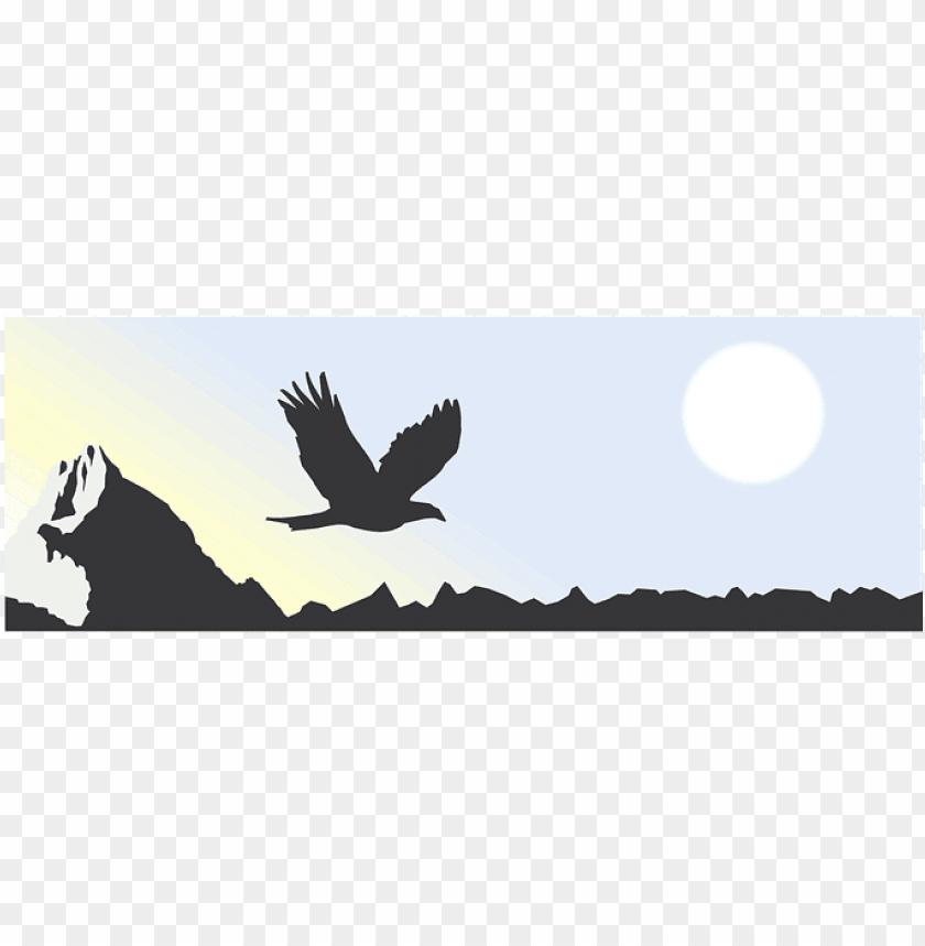 free PNG mountain, sun, eagle, sky, bird, flying, mountains - eagle and mountain silhouette PNG image with transparent background PNG images transparent